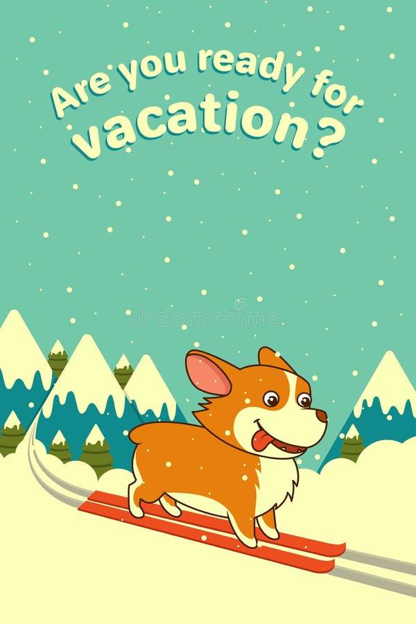 Διανυσματικό σκυλί που κάνει σκι στο υπόβαθρο χειμερινών βουνών Ουαλλέζικο σκυλί corgi Για τα Χριστούγεννα, νέα αφίσα έτους, ημερ