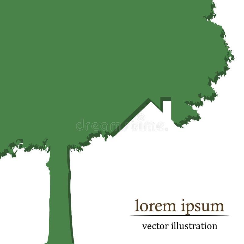 Διανυσματικό σπίτι δέντρων απεικόνιση αποθεμάτων