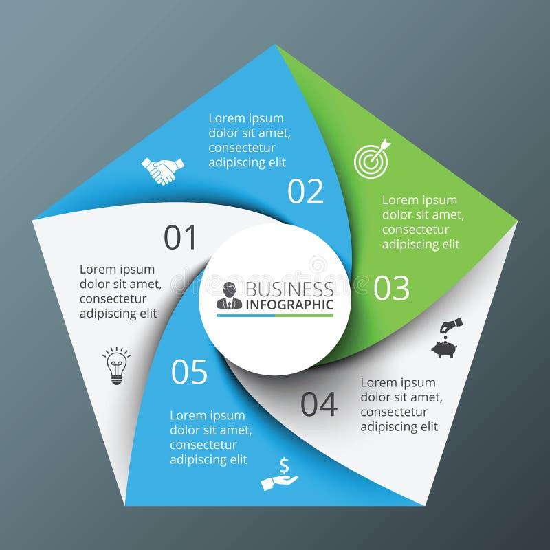 Διανυσματικό σπειροειδές Πεντάγωνο για infographic απεικόνιση αποθεμάτων
