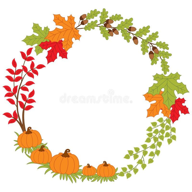 Διανυσματικό στεφάνι φθινοπώρου με την κολοκύθα, τα βελανίδια και τα φύλλα διανυσματική απεικόνιση