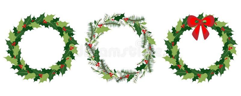 Διανυσματικό στεφάνι Χριστουγέννων που τίθεται με τα χειμερινά floral στοιχεία Ευχετήρια κάρτα εποχής επίσης corel σύρετε το διάν διανυσματική απεικόνιση