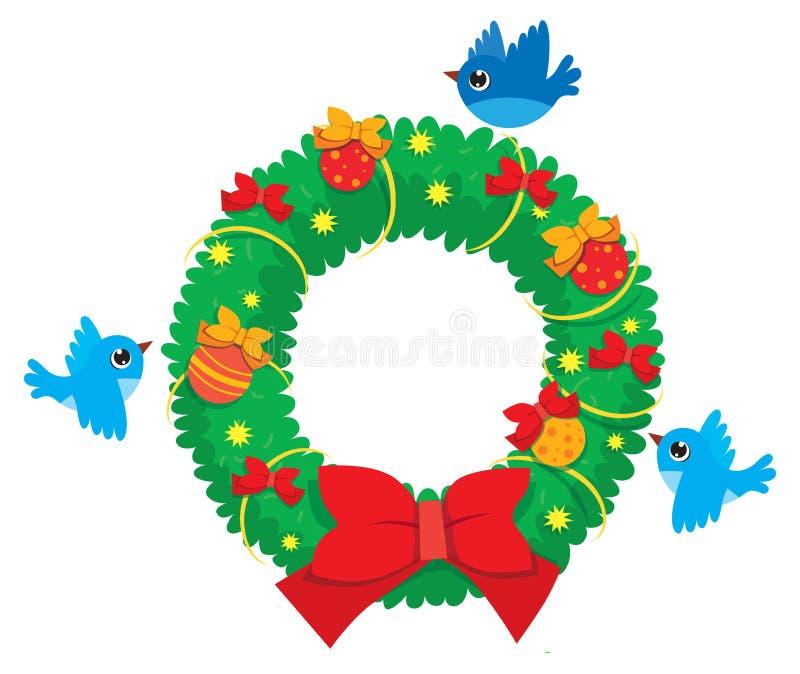 Διανυσματικό στεφάνι Χριστουγέννων των κομψών κλάδων με τα πετώντας πουλιά ελεύθερη απεικόνιση δικαιώματος