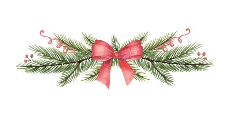 Διανυσματικό στεφάνι Χριστουγέννων Watercolor με τους πράσινους κλάδους έλατου και το κόκκινο τόξο απεικόνιση αποθεμάτων