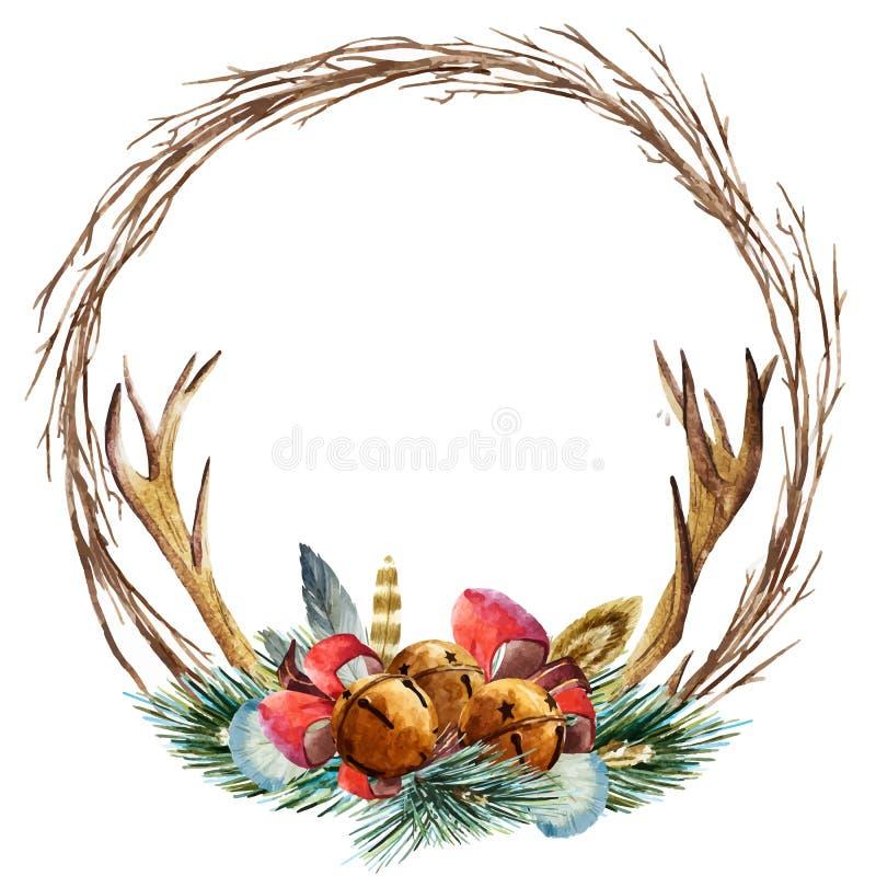 Διανυσματικό στεφάνι Χριστουγέννων watercolor διανυσματική απεικόνιση