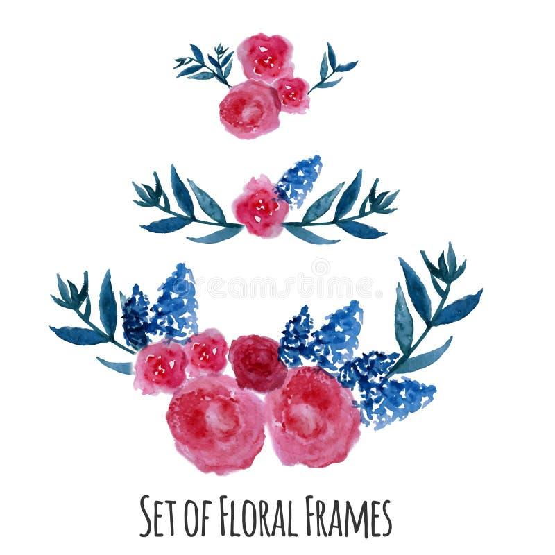 Διανυσματικό στεφάνι Watercolor Floral σχέδιο πλαισίων διανυσματική απεικόνιση
