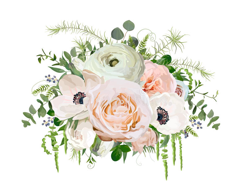 Διανυσματικό στοιχείο αντικειμένου σχεδίου ανθοδεσμών λουλουδιών Ρόδινος κήπος Ρ ροδάκινων διανυσματική απεικόνιση