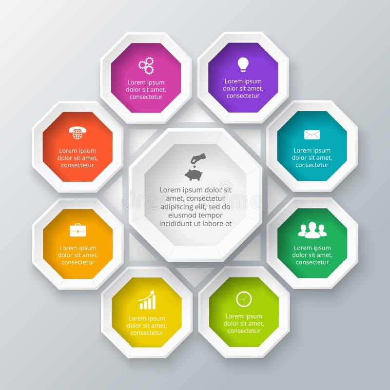 Διανυσματικό στοιχείο οκταγώνων για infographic ελεύθερη απεικόνιση δικαιώματος