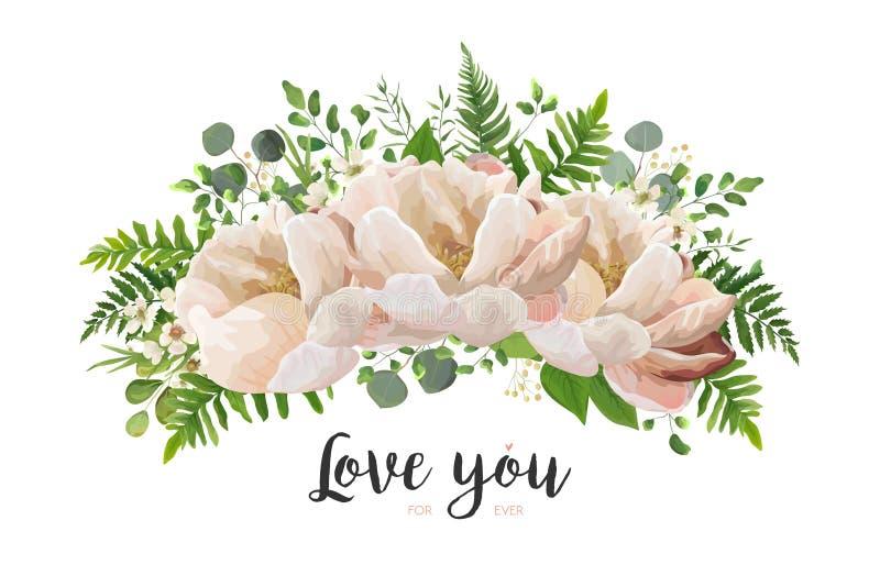 Διανυσματικό στοιχείο σχεδίου ανθοδεσμών λουλουδιών Το ροδάκινο, ρόδινο αυξήθηκε peony, wa διανυσματική απεικόνιση