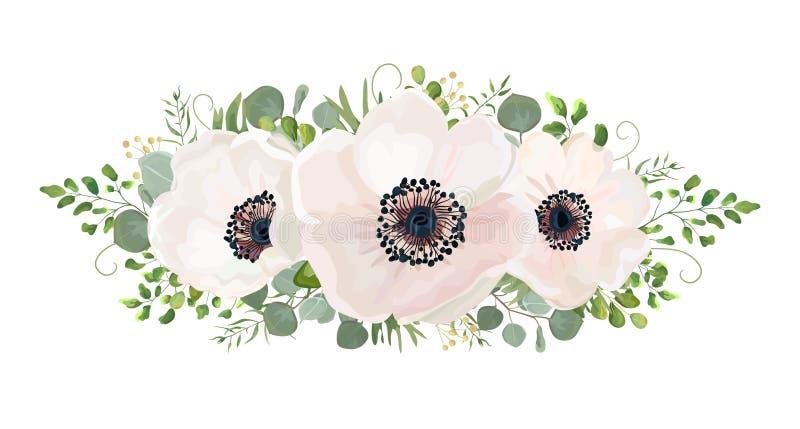 Διανυσματικό στοιχείο σχεδίου watercolor ανθοδεσμών λουλουδιών Ροδάκινο, ρόδινο whi διανυσματική απεικόνιση