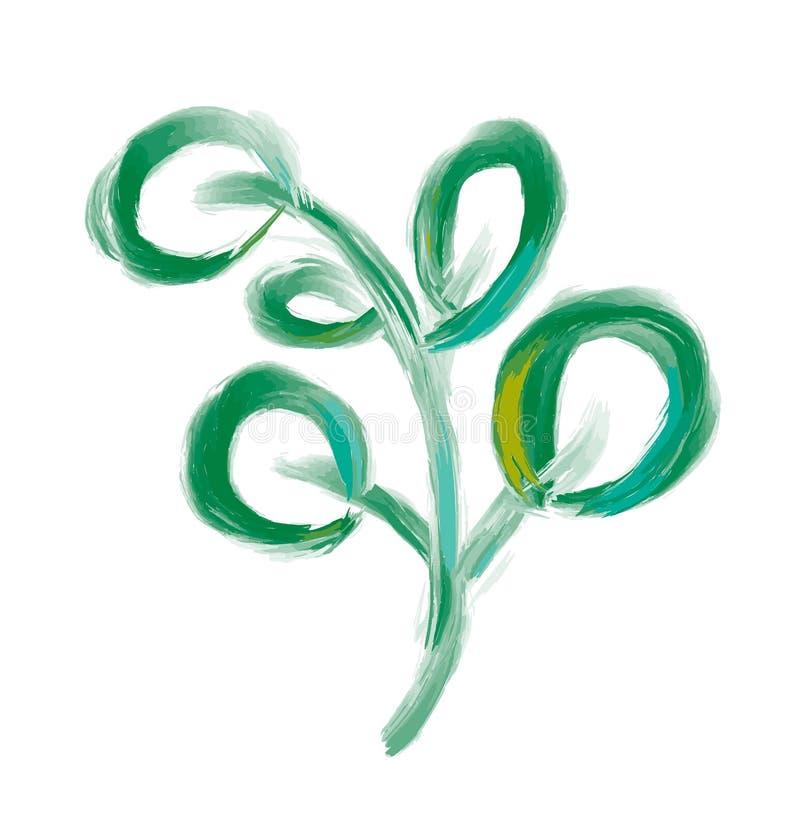 Διανυσματικό στοιχείο φύλλων σχεδιαστών στο άσπρο υπόβαθρο Πράσινο δασικό φυσικό χορτάρι φυλλώματος τέχνης στο ύφος watercolor Δι ελεύθερη απεικόνιση δικαιώματος