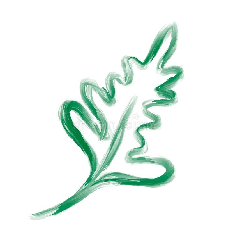 Διανυσματικό στοιχείο φύλλων σχεδιαστών στο άσπρο υπόβαθρο Πράσινο δασικό φυσικό χορτάρι φυλλώματος τέχνης στο ύφος watercolor Δι απεικόνιση αποθεμάτων