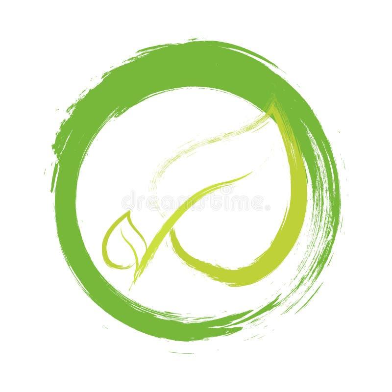 Διανυσματικό, στρογγυλό έμβλημα ετικετών Eco, χρωματισμένο εικονίδιο για τα φυσικά προϊόντα που συσκευάζουν, που ντύνουν και πακέ διανυσματική απεικόνιση
