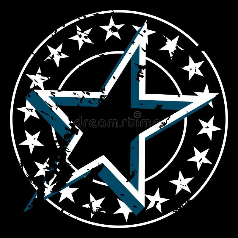 Διανυσματικό στρογγυλό διακριτικό grunge με τα αστέρια στα σύνορα και το αστέρι στο κέντρο Απομονωμένος στη μαύρη ανασκόπηση Τραχ απεικόνιση αποθεμάτων