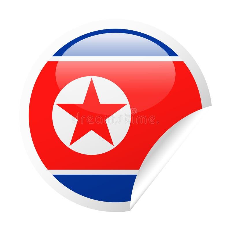 Διανυσματικό στρογγυλό εικονίδιο εγγράφου γωνιών σημαιών Βόρεια Κορεών απεικόνιση αποθεμάτων