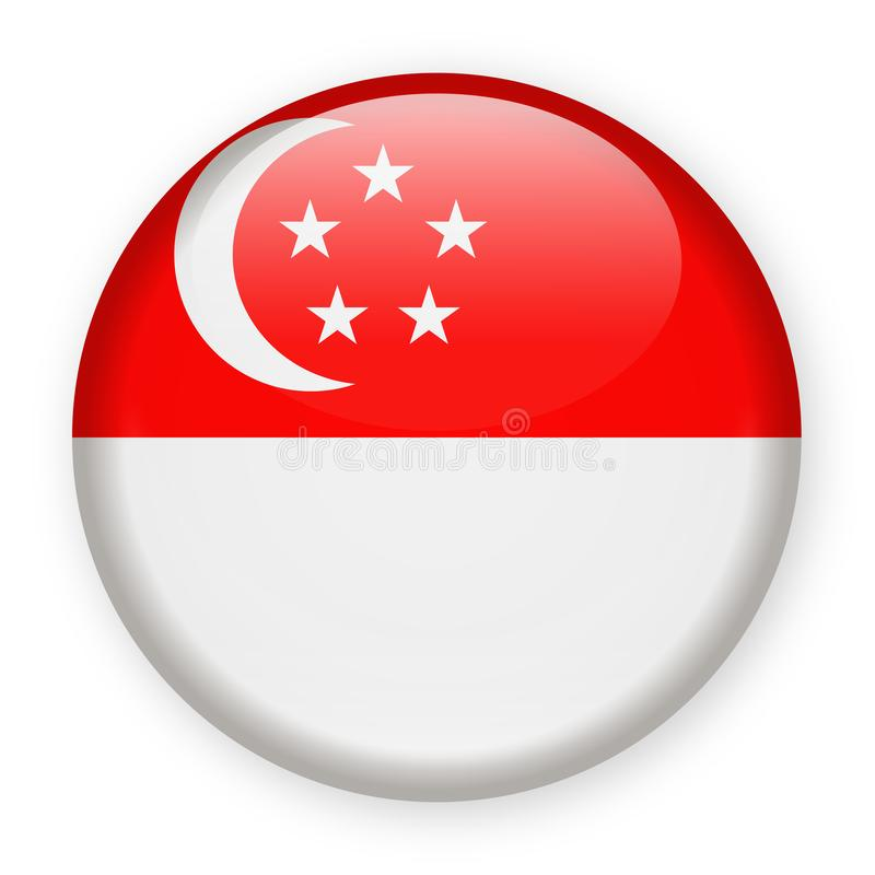 Διανυσματικό στρογγυλό εικονίδιο σημαιών της Σιγκαπούρης διανυσματική απεικόνιση