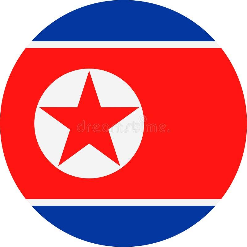 Διανυσματικό στρογγυλό επίπεδο εικονίδιο σημαιών Βόρεια Κορεών απεικόνιση αποθεμάτων