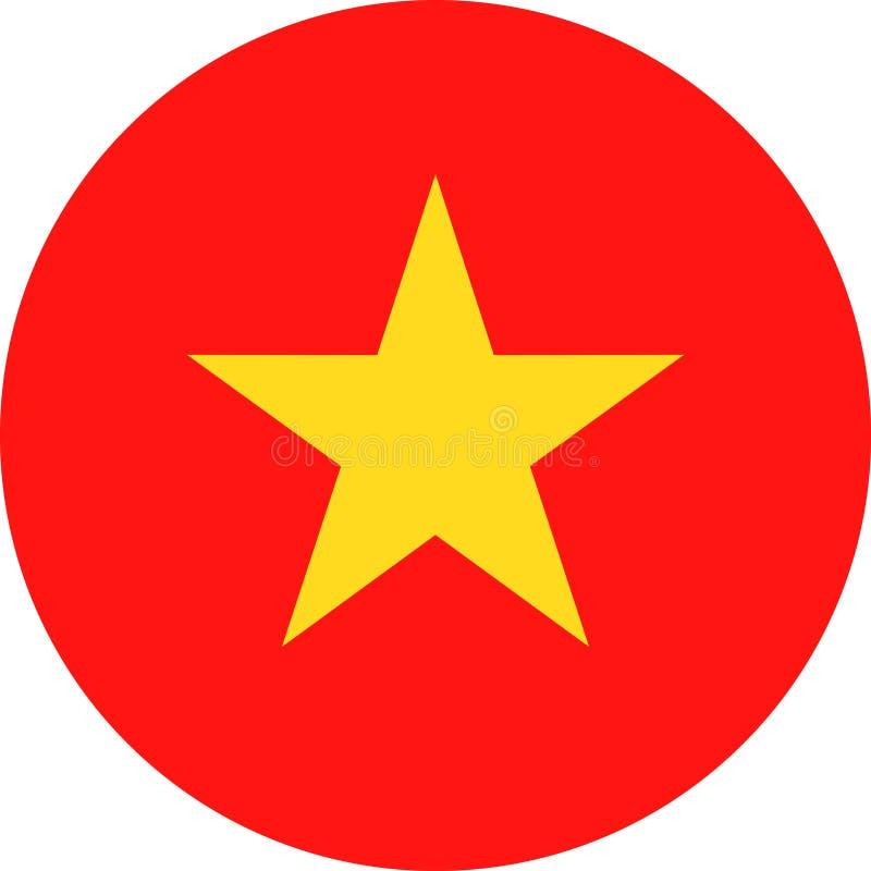 Διανυσματικό στρογγυλό επίπεδο εικονίδιο σημαιών του Βιετνάμ απεικόνιση αποθεμάτων