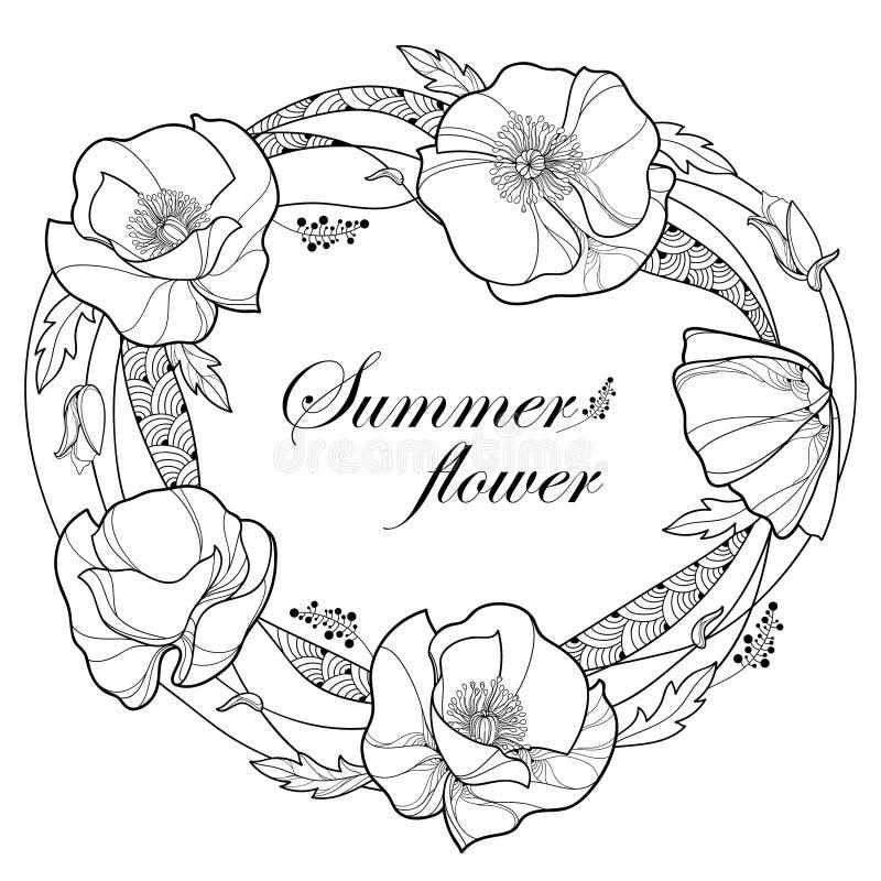 Διανυσματικό στρογγυλό πλαίσιο με τη δέσμη, τον οφθαλμό και τα φύλλα λουλουδιών παπαρουνών περιλήψεων στο Μαύρο που απομονώνεται  διανυσματική απεικόνιση
