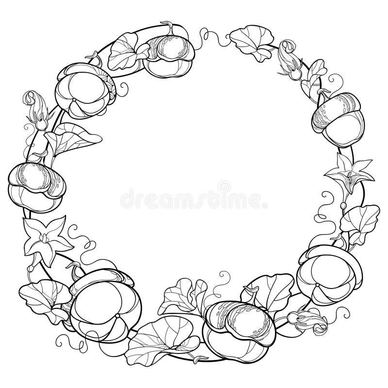 Διανυσματικό στρογγυλό στεφάνι με την άμπελο κολοκύθας περιλήψεων με το λουλούδι, περίκομψο φύλλο στο Μαύρο που απομονώνεται στο  ελεύθερη απεικόνιση δικαιώματος