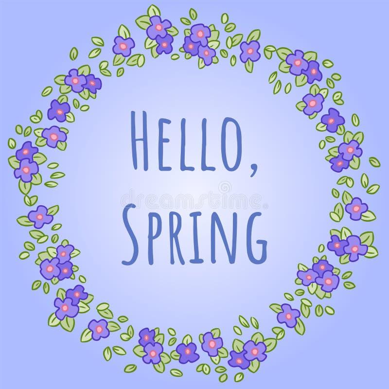 Διανυσματικό στρογγυλό στεφάνι με Pansy ή τα λουλούδια και τα φύλλα Viola Γειά σου άνοιξη typescrypt Ευχετήρια κάρτα και πρόσκλησ απεικόνιση αποθεμάτων