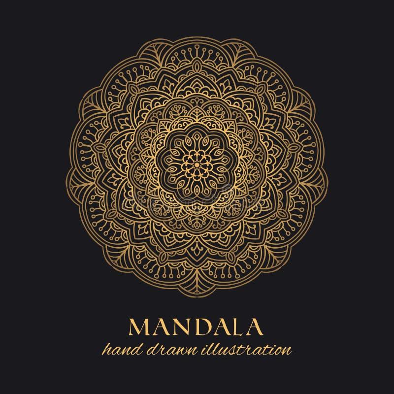 Διανυσματικό στρογγυλό σχέδιο πολυτέλειας διακοσμήσεων Mandala Χρυσό εθνικό στοιχείο απεικόνιση αποθεμάτων