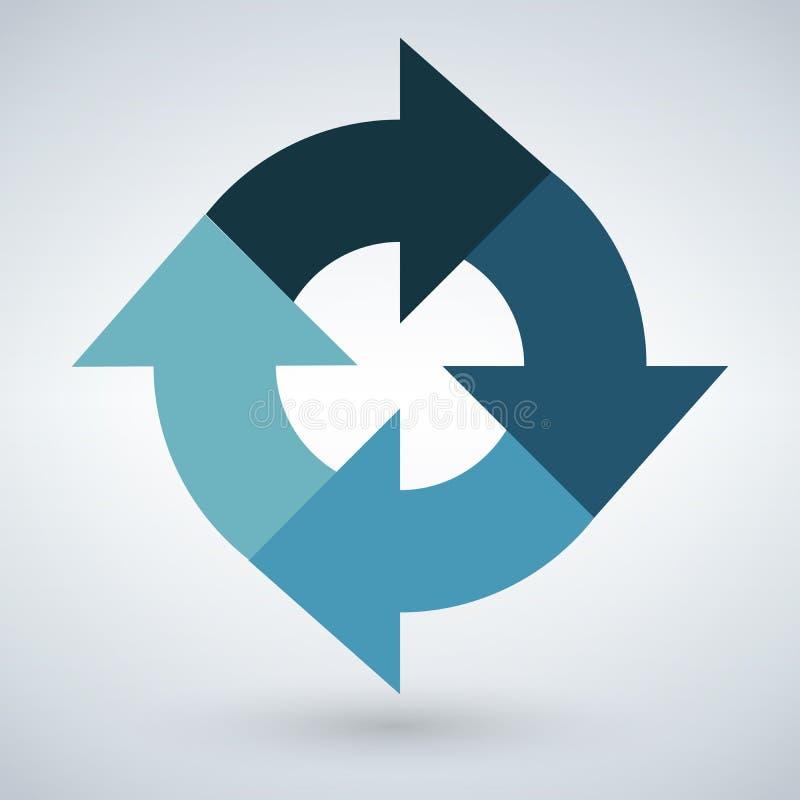 Διανυσματικό στρογγυλό infographic διάγραμμα Κυκλικό συνδεδεμένο διάγραμμα με 4 επιλογές Βήματα προόδου εγγράφου για το σεμινάριο ελεύθερη απεικόνιση δικαιώματος