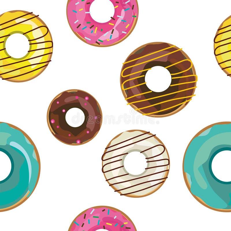 Διανυσματικό συμπαθητικό άνευ ραφής σχέδιο με τα ζωηρόχρωμα donuts ελεύθερη απεικόνιση δικαιώματος