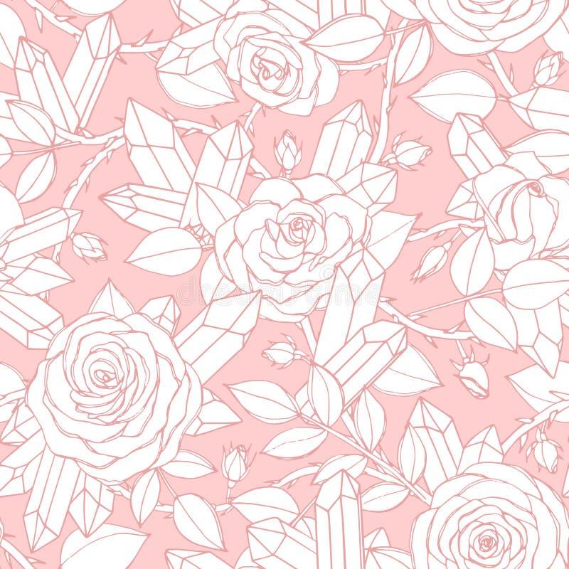 Διανυσματικό συρμένο χέρι άνευ ραφής σχέδιο των άσπρων ροδαλών λουλουδιών με τους οφθαλμούς, τα φύλλα, τους ακανθώδεις μίσχους κα απεικόνιση αποθεμάτων