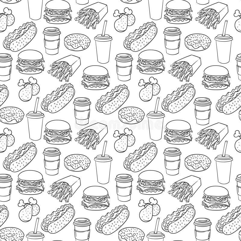 Διανυσματικό συρμένο χέρι λαϊκό σχέδιο γρήγορου φαγητού τέχνης μονοχρωματικό απεικόνιση αποθεμάτων