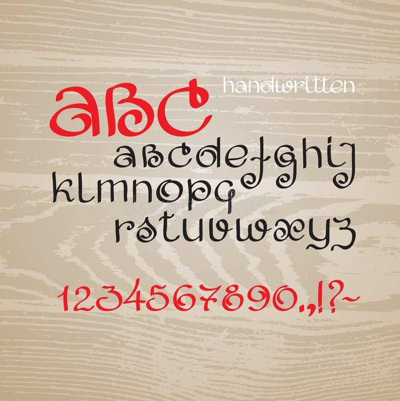 Διανυσματικό συρμένο χέρι αλφάβητο Επιστολές και αριθμοί απεικόνιση αποθεμάτων