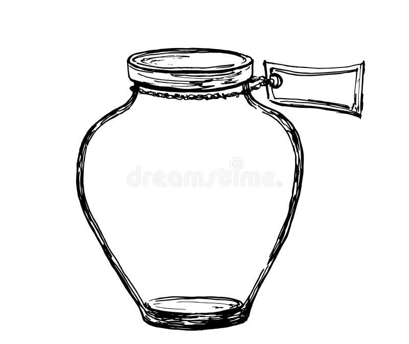 Διανυσματικό συρμένο χέρι βάζο σκίτσων με την ετικέτα Απεικόνιση για το σχέδιο, την τυπωμένη ύλη ή το υπόβαθρο ελεύθερη απεικόνιση δικαιώματος
