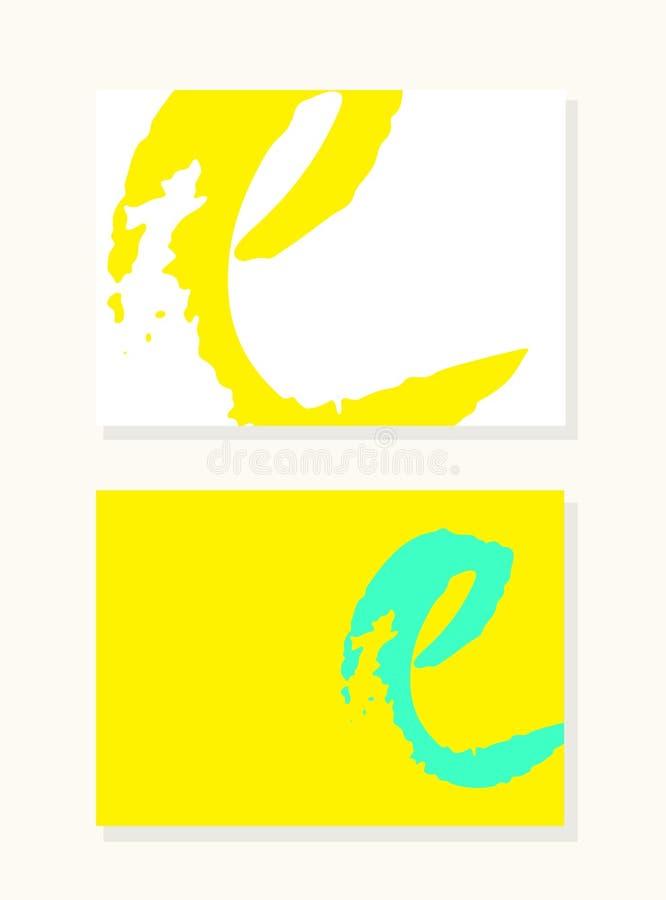 Διανυσματικό συρμένο χέρι γράμμα Ε με τις ομαλές ακρυλικές άκρες ύφους βουρτσών, ζωηρόχρωμο διαποτισμένο σύνολο υποβάθρου ελεύθερη απεικόνιση δικαιώματος