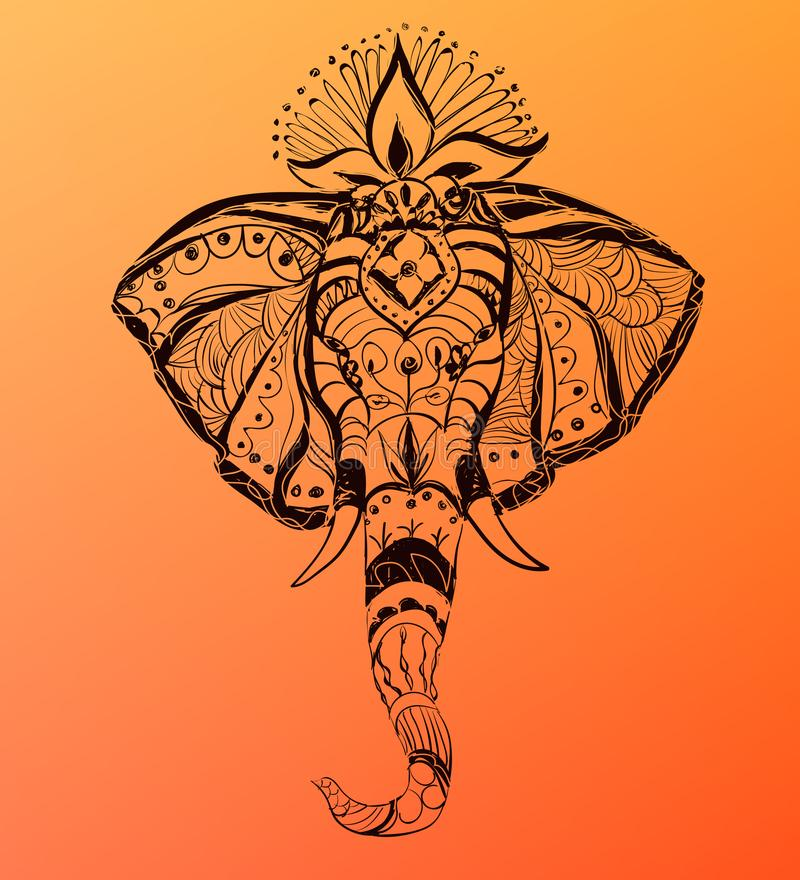 Διανυσματικό συρμένο χέρι κεφάλι ελεφάντων ` s Απεικόνιση ύφους της Ινδίας απεικόνιση αποθεμάτων