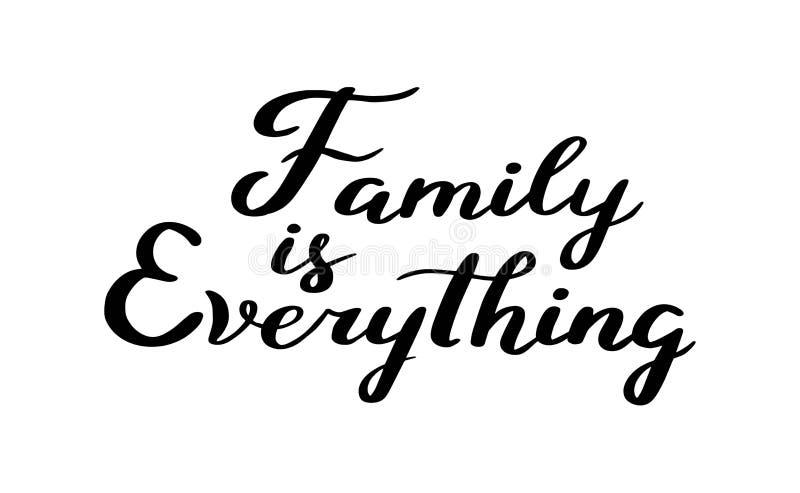 Διανυσματικό συρμένο χέρι κινητήριο και εμπνευσμένο απόσπασμα - η οικογένεια είναι όλα Καλλιγραφική αφίσα απεικόνιση αποθεμάτων