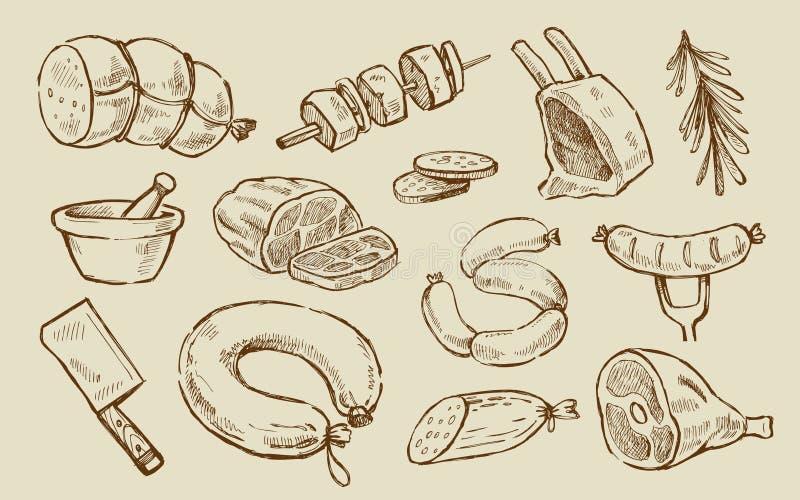 Διανυσματικό συρμένο χέρι κρέας ελεύθερη απεικόνιση δικαιώματος