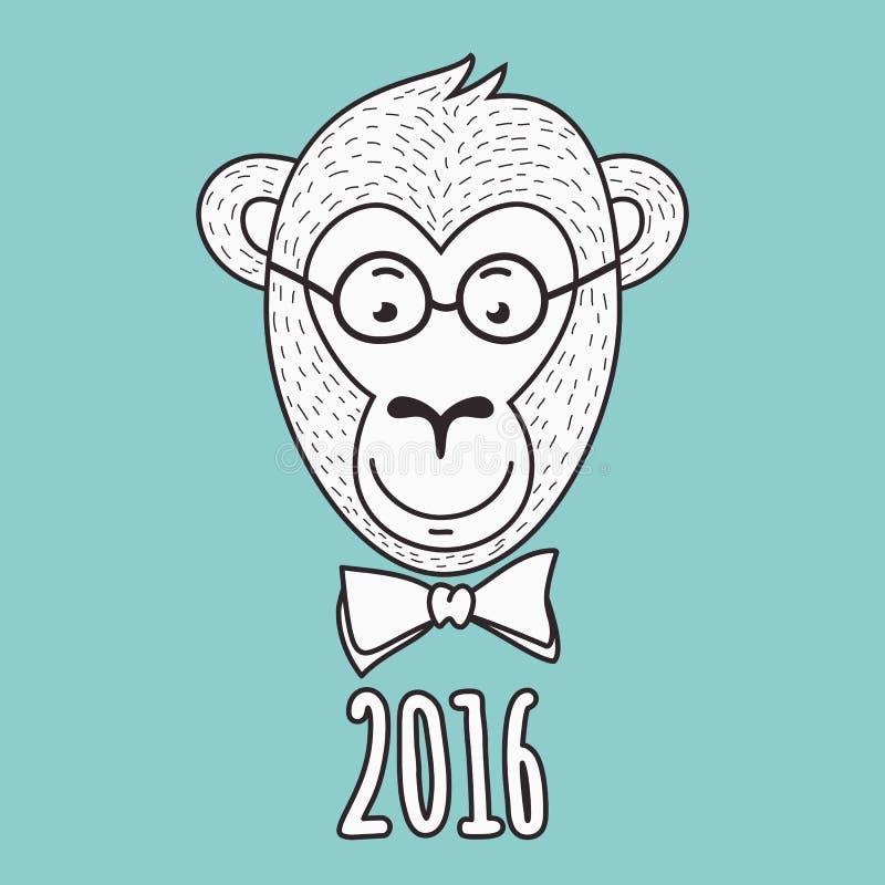 Διανυσματικό συρμένο χέρι πορτρέτο του πιθήκου geek 2016 καλή χρονιά γ διανυσματική απεικόνιση
