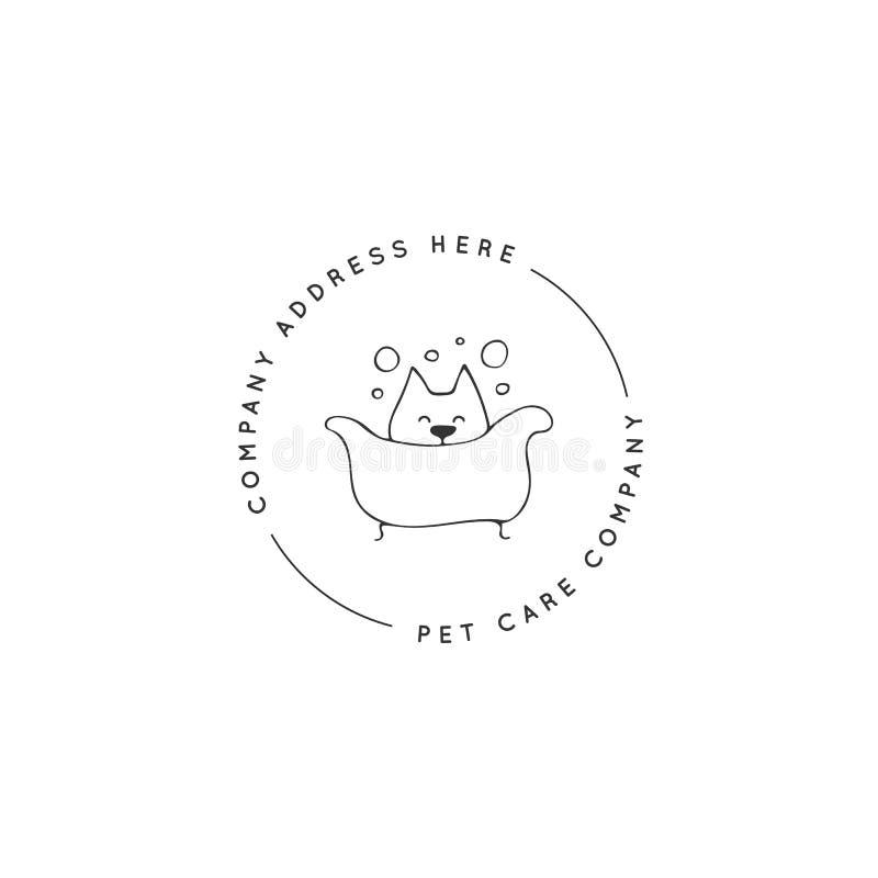 Διανυσματικό συρμένο χέρι πρότυπο λογότυπων για σχετική με την τα κατοικίδια ζώα επιχείρηση διανυσματική απεικόνιση