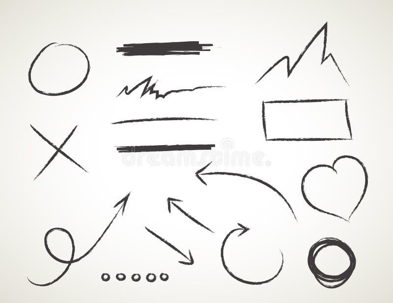 Διανυσματικό συρμένο χέρι σύνολο στο άσπρο υπόβαθρο - στοιχεία με τα βέλη και τα στοιχεία απεικόνιση αποθεμάτων