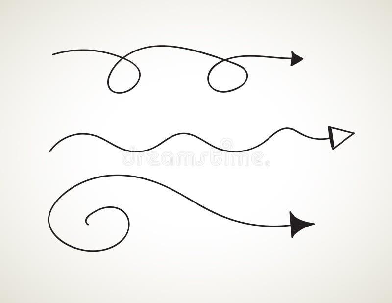 Διανυσματικό συρμένο χέρι σύνολο στο άσπρο υπόβαθρο - στοιχεία με τα βέλη και τα στοιχεία διανυσματική απεικόνιση