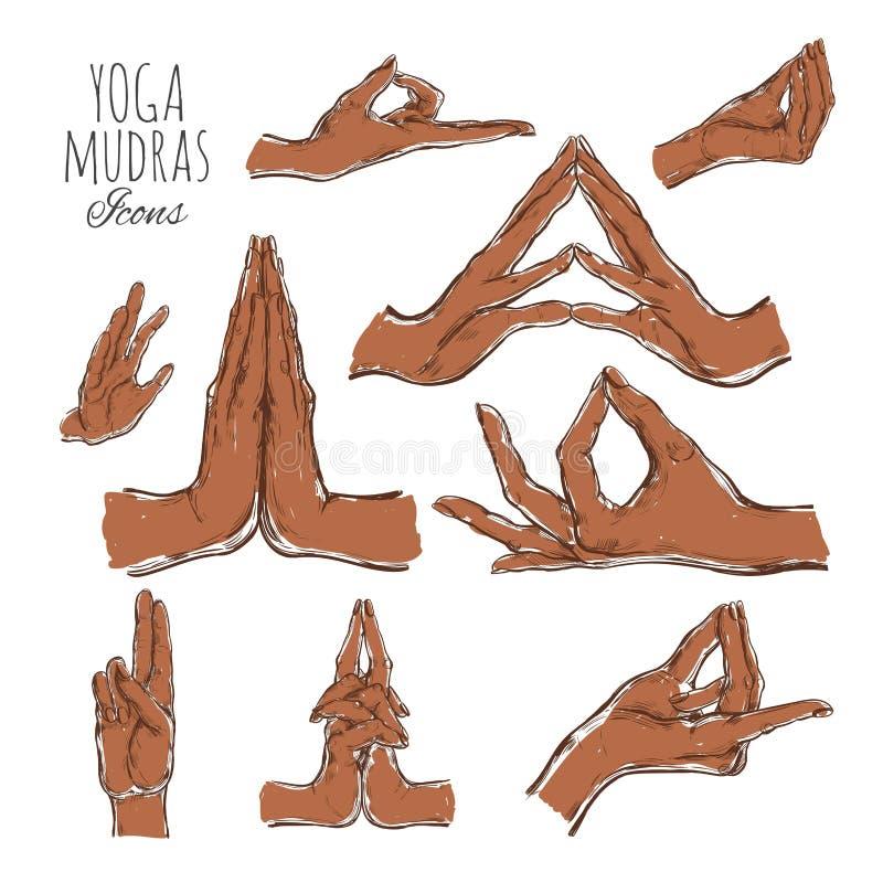 Διανυσματικό συρμένο χέρι σύνολο mudras Απομονωμένος στο λευκό Γιόγκα πνευματικότητα απεικόνιση αποθεμάτων