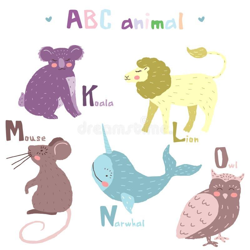 Διανυσματικό συρμένο χέρι χαριτωμένο ζωικό Σκανδιναβικό ζωηρόχρωμο σχέδιο αλφάβητου abc, λιοντάρι, ποντίκι, narwha, κουκουβάγια διανυσματική απεικόνιση