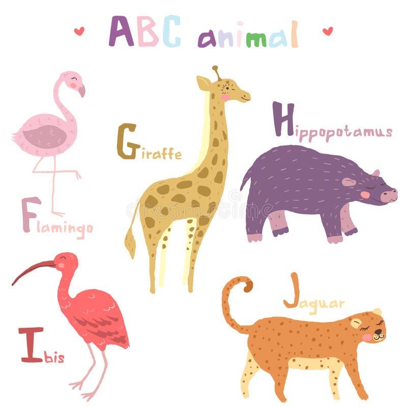 Διανυσματικό συρμένο χέρι χαριτωμένο ζωικό Σκανδιναβικό ζωηρόχρωμο σχέδιο αλφάβητου abc, φλαμίγκο, giraffe, hippopotamusl, θρεσκι διανυσματική απεικόνιση