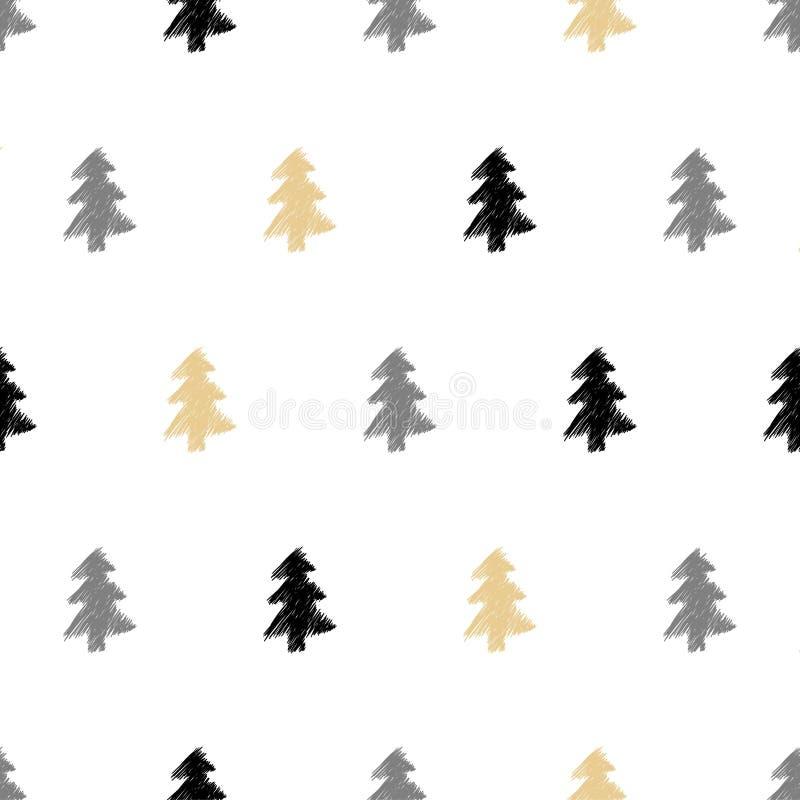 Διανυσματικό συρμένο χέρι χριστουγεννιάτικο δέντρο, άνευ ραφής σχέδιο έλατου σε εθνικό ελεύθερη απεικόνιση δικαιώματος