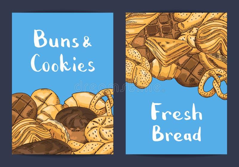 Διανυσματικό συρμένο χέρι χρωματισμένο κάρτα ή κατάστημα στοιχείων αρτοποιείων διανυσματική απεικόνιση