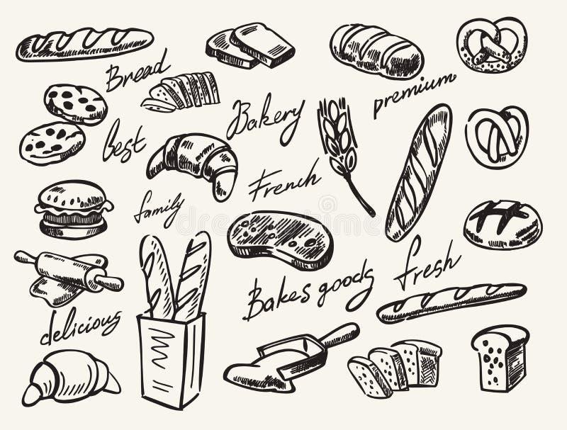 Διανυσματικό συρμένο χέρι ψωμί ελεύθερη απεικόνιση δικαιώματος