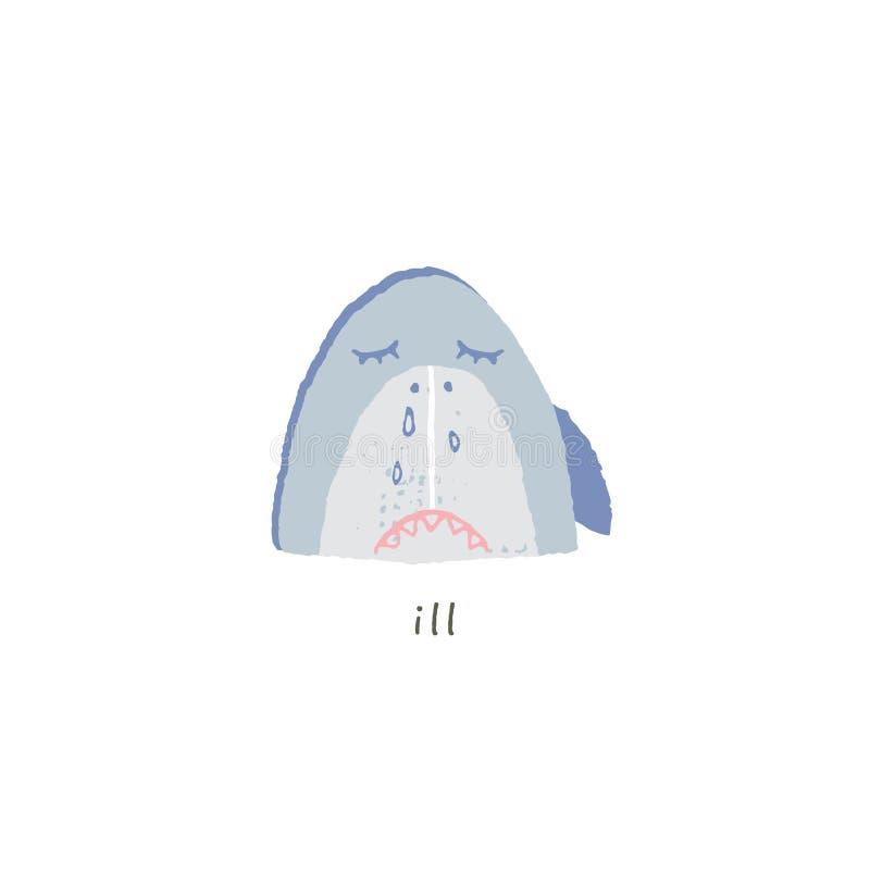 Διανυσματικό συρμένο χέρι emoji Λυπημένο και άρρωστο χαμόγελο καρχαριών ελεύθερη απεικόνιση δικαιώματος