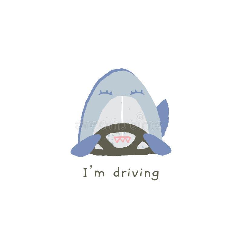Διανυσματικό συρμένο χέρι emoji Το αστείο χαμόγελο καρχαριών οδηγεί ένα αυτοκίνητο ελεύθερη απεικόνιση δικαιώματος