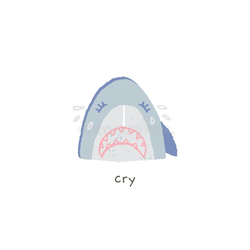 Διανυσματικό συρμένο χέρι emoji Το καλό χαμόγελο καρχαριών είναι λυπημένο και κραυγή διανυσματική απεικόνιση