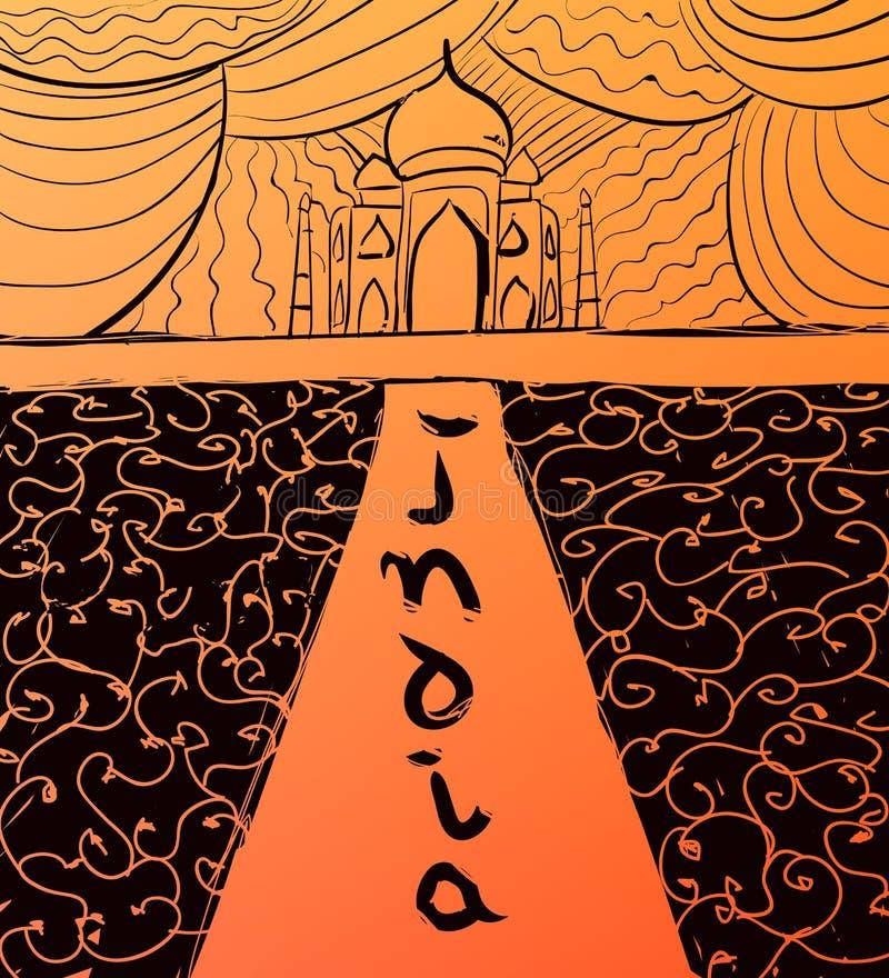 Διανυσματικό συρμένο χέρι Taj Mahal και καλλιγραφικό κείμενο Απεικόνιση ύφους της Ινδίας διανυσματική απεικόνιση