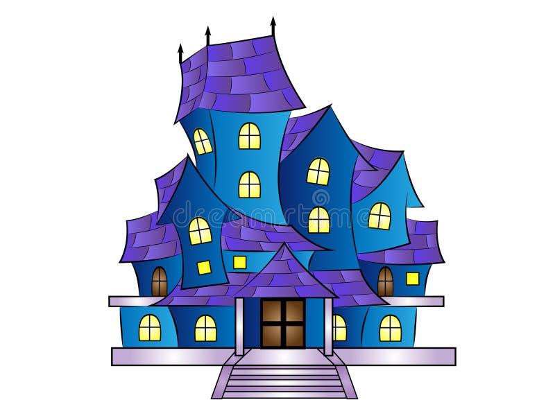 Διανυσματικό συχνασμένο κινούμενα σχέδια σπίτι απεικόνισης ελεύθερη απεικόνιση δικαιώματος